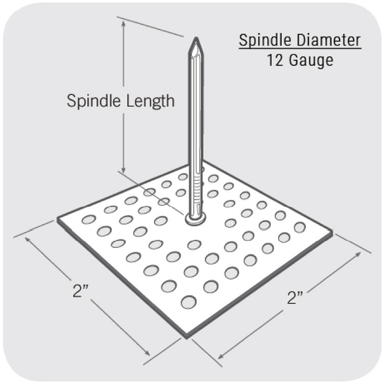 spindle anchor perforated base size